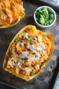 Buffalo Chicken Stuffed Spaghetti Squash | The Real Food Dietitians | https://therealfoodrds.com/buffalo-chicken-stuffed-spaghetti-squash/