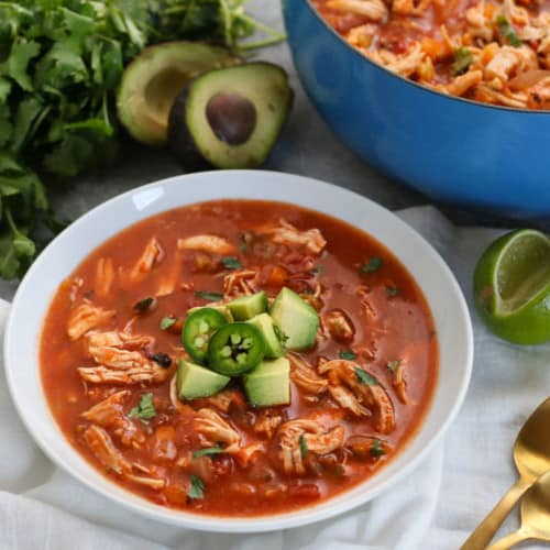 Chicken Tortilla-less Soup | The Real Food Dietitians | https://therealfooddietitians.com/chickem-tortilla-less-soup/