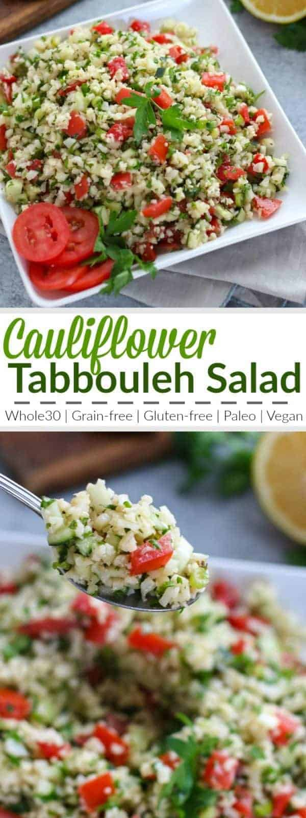 pinterest image for Cauliflower Tabbouleh Salad