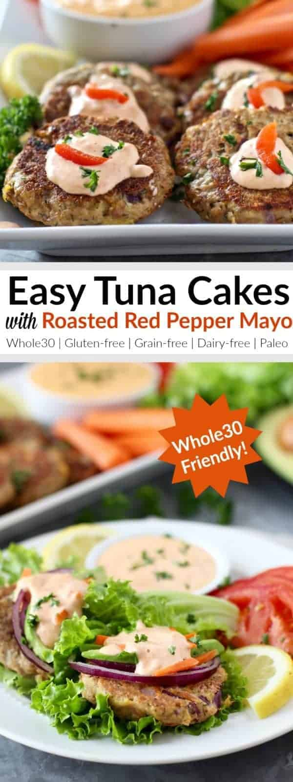 pinterest image for Easy Tuna Cakes with Roasted Red Pepper Mayo