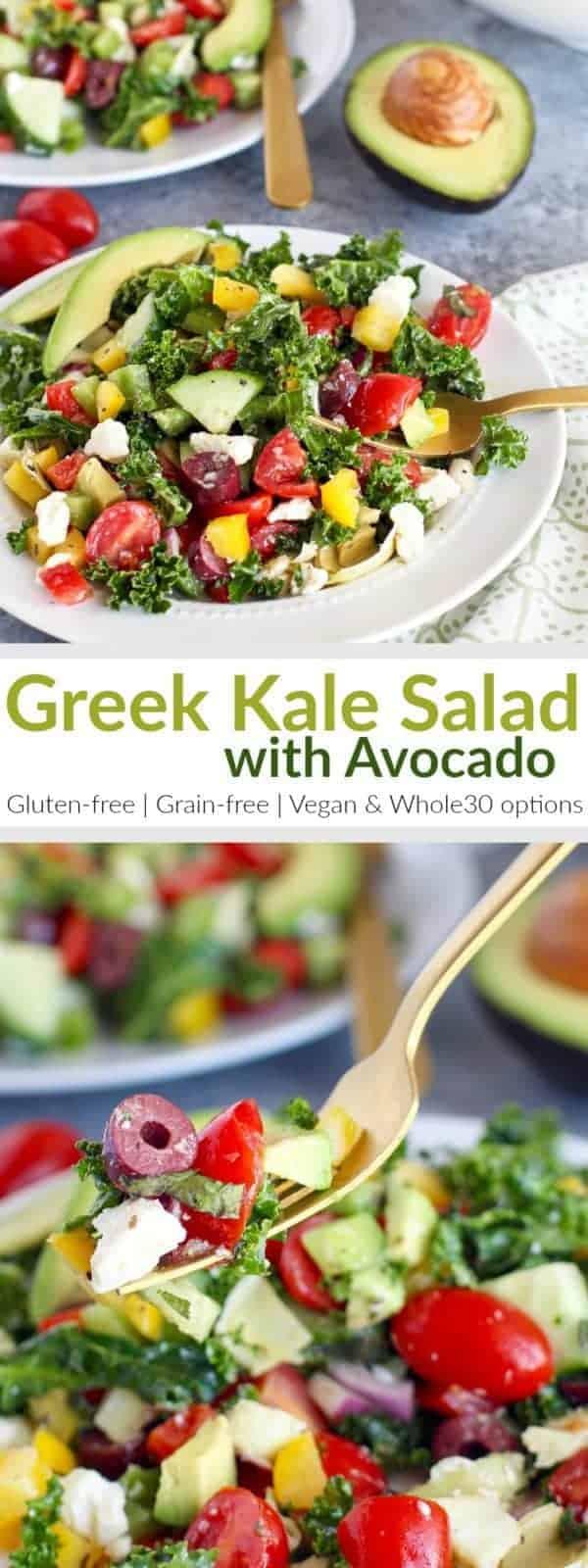 pinterest image for Greek Kale Salad with Avocado