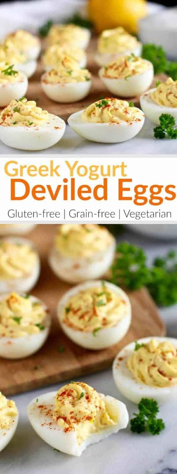 pinterest image for Greek Yogurt Deviled Eggs