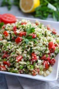 Cauliflower Tabbouleh Salad on a white plate