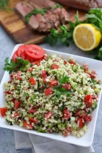 Cauliflower Tabbouleh Salad on a white plate