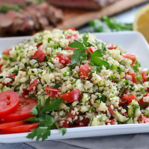 Cauliflower Tabbouleh Salad | The Real Food Dietitians | https://therealfooddietitians.com/cauliflower-tabbouleh-salad/