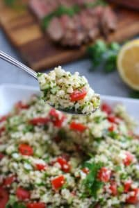 Cauliflower Tabbouleh Salad on a silver spoon