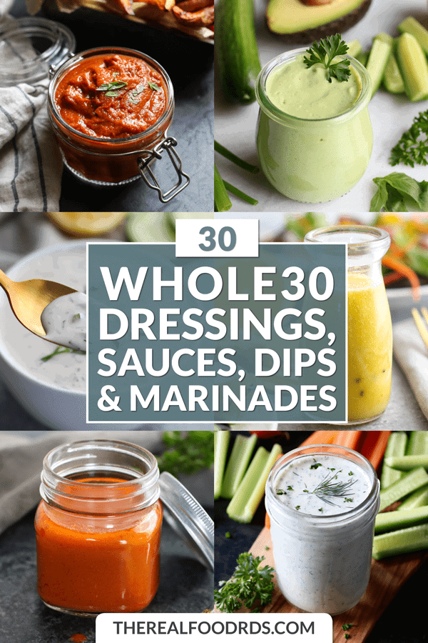 Short Pin Image for 30 Whole30 Dressings, Sauces, Dips, & Marinades