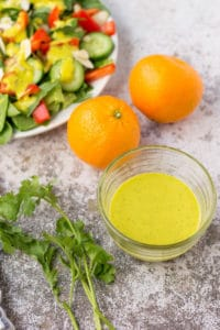 Creamy Orange Cilantro Dressing in a glass bowl