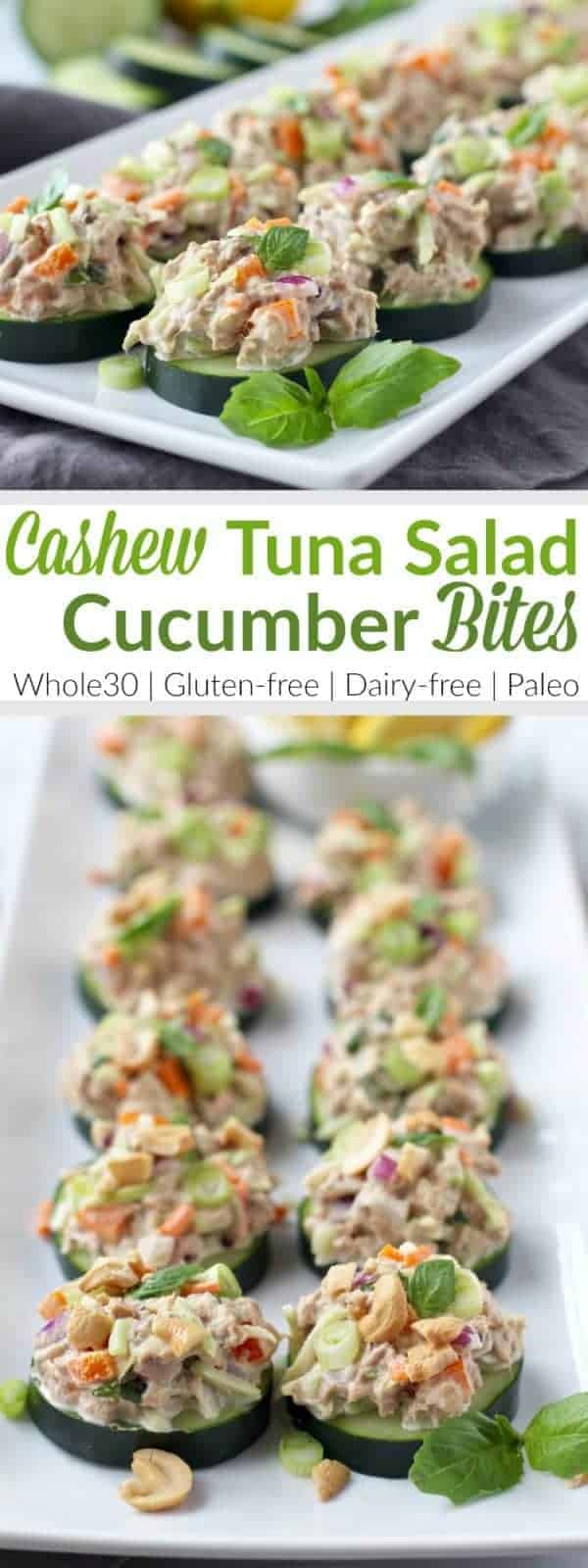 Pinterest image for Cashew Tuna Salad Cucumber Bites