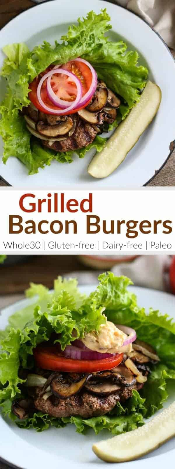 Pinterest image for Grilled Bacon Burgers