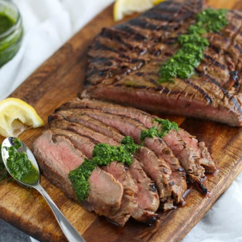 Balsamic Flank Steak with Chimichurri Sauce   The Real Food Dietitians   https://therealfooddietitians.com/balsamic-flank-steak-chimichurri-sauce/