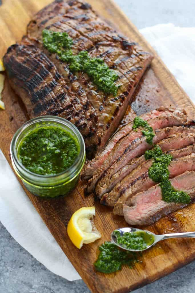 Balsamic Flank Steak with Chimichurri Sauce | The Real Food Dietitians | https://therealfoodrds.com/balsamic-flank-steak-chimichurri-sauce/