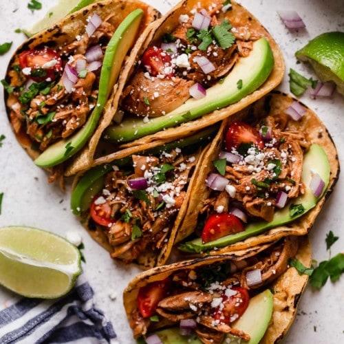 Instant pot shredded chicken tacos in corn shells