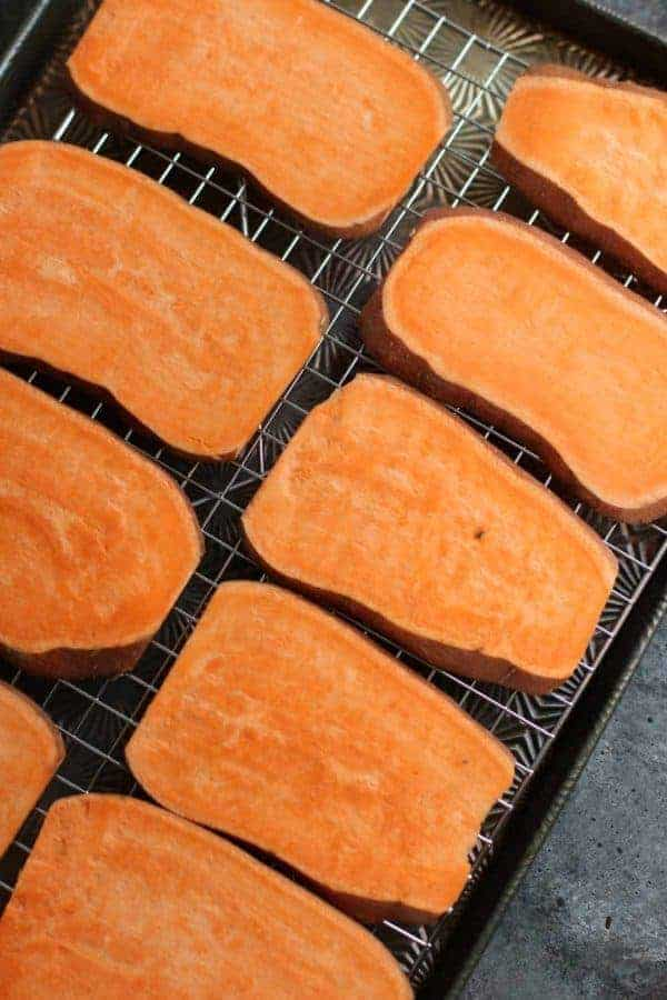 Oven Baked Sweet Potato Toast 4 Ways slices of sweet potato on a cooling rack