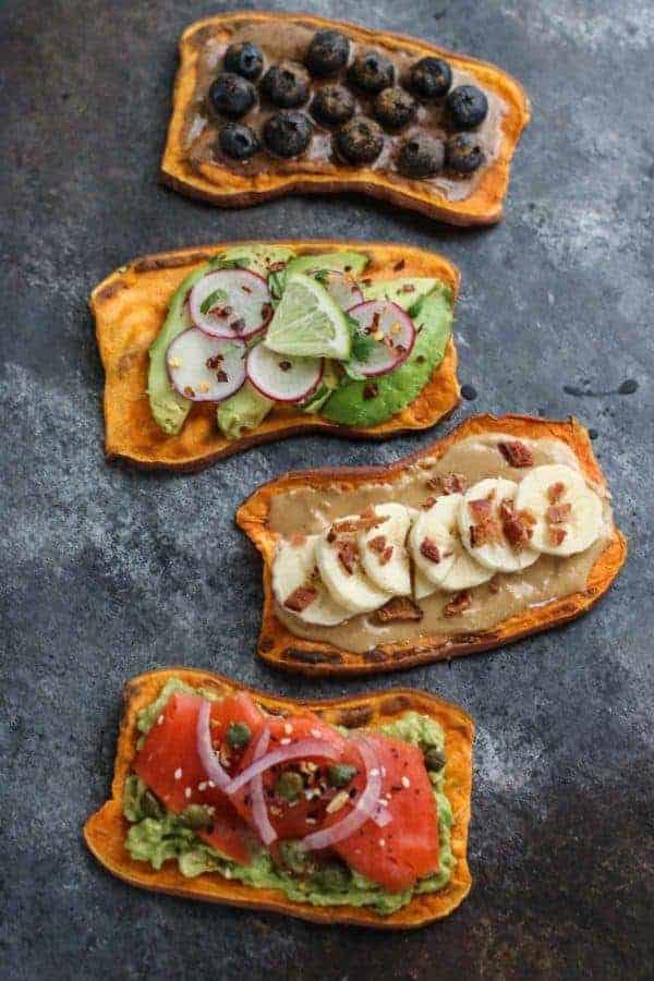 Oven Baked Sweet Potato Toast 4 Ways on a gray countertop