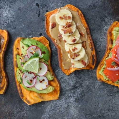 Oven Baked Sweet Potato Toast 4 Ways | The Real Food Dietitians | https://therealfooddietitians.com/oven-baked-sweet-potato-toast-4-ways/