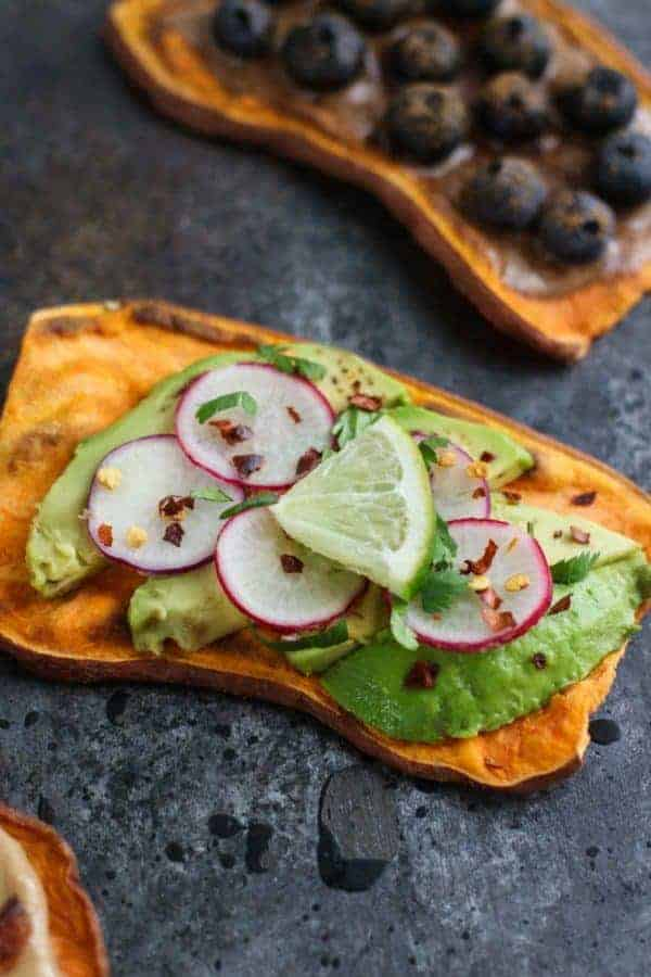 Oven Baked Sweet Potato Toast 4 Ways with avocado, radishes, and lime