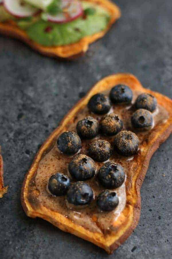 Oven Baked Sweet Potato Toast 4 Ways with blueberries and cinnamon spread
