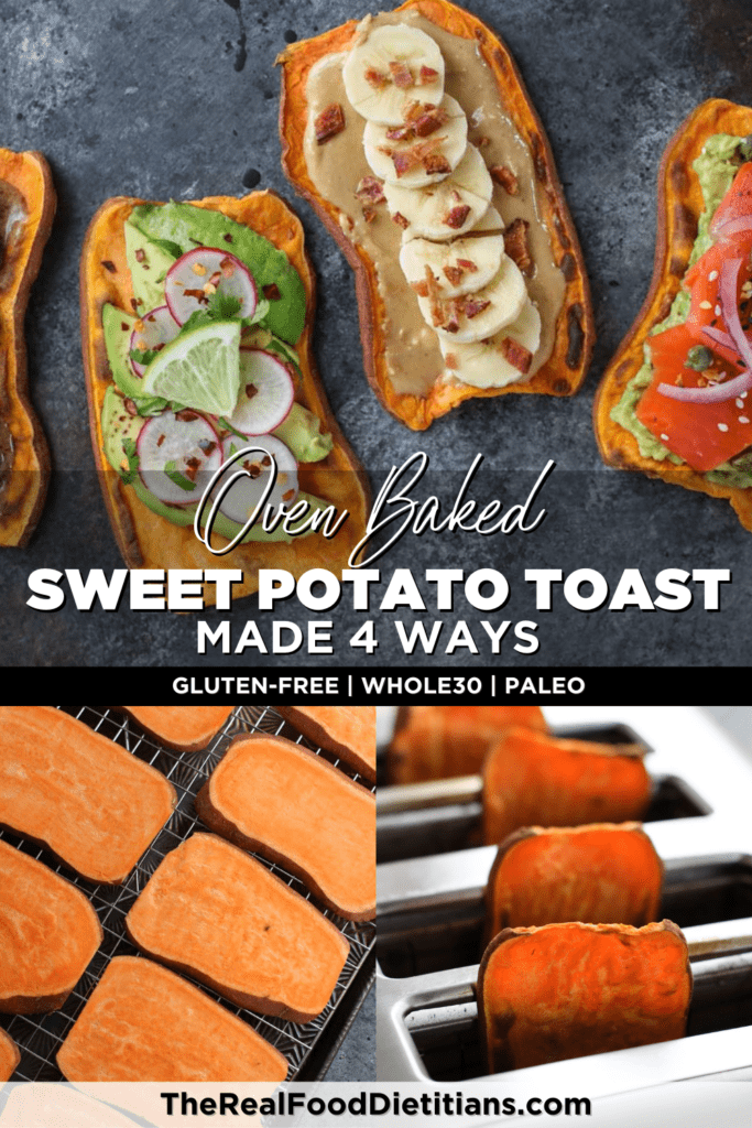 Four pieces of sweet potato toast topped with different options, sweet potato slices on a wire rack and in a toaster.