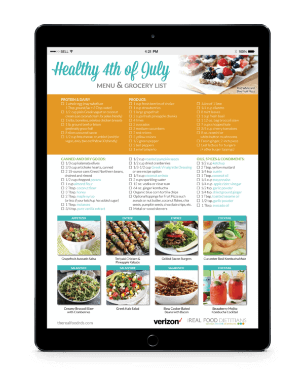 Healthy 4th of July Menu printable grocery list viewed on an ipad
