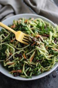 Healthy 4th of July Menu side dish: Creamy Broccoli Slaw in a white bowl