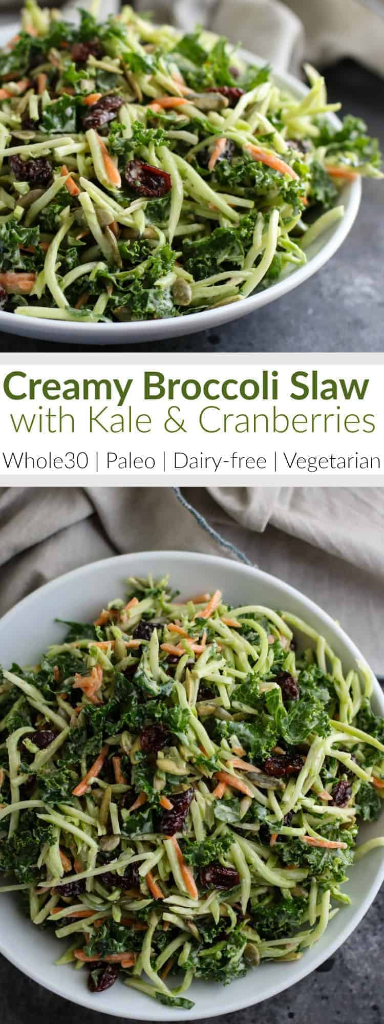 Pinterest image for Creamy Broccoli Slaw