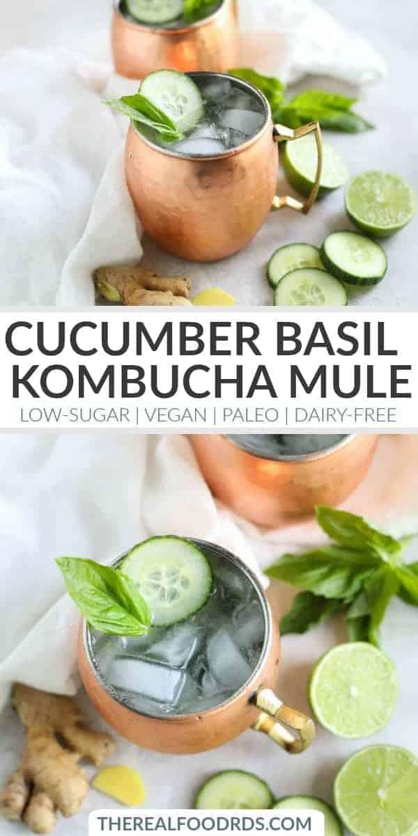 Pinterest image for Cucumber Basil Kombucha Mule