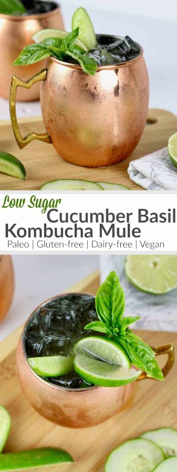 Cool off and kick-back with this garden-fresh, low-sugar Cucumber Basil Kombucha Mule! | The Real Food Dietitians | https://therealfoodrds.com/cucumber-basil-kombucha-mule/