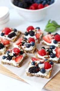 Healthy 4th of July Menu dessert : Berry Fruit Pizza on a counter top