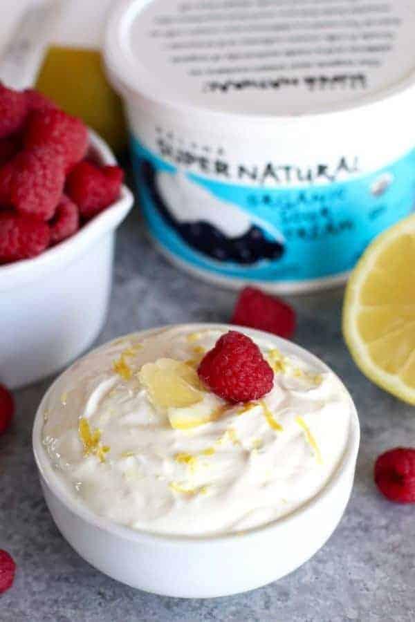 Kalona SuperNatural sour cream in a white bowl