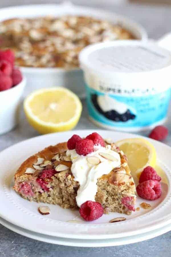 Gluten-free Raspberry Lemon Coffee Cake piece on a white plate