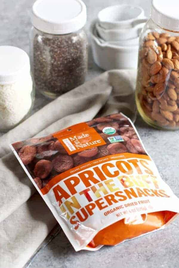 No-Bake Apricot Almond Coconut Energy Bars ingredients