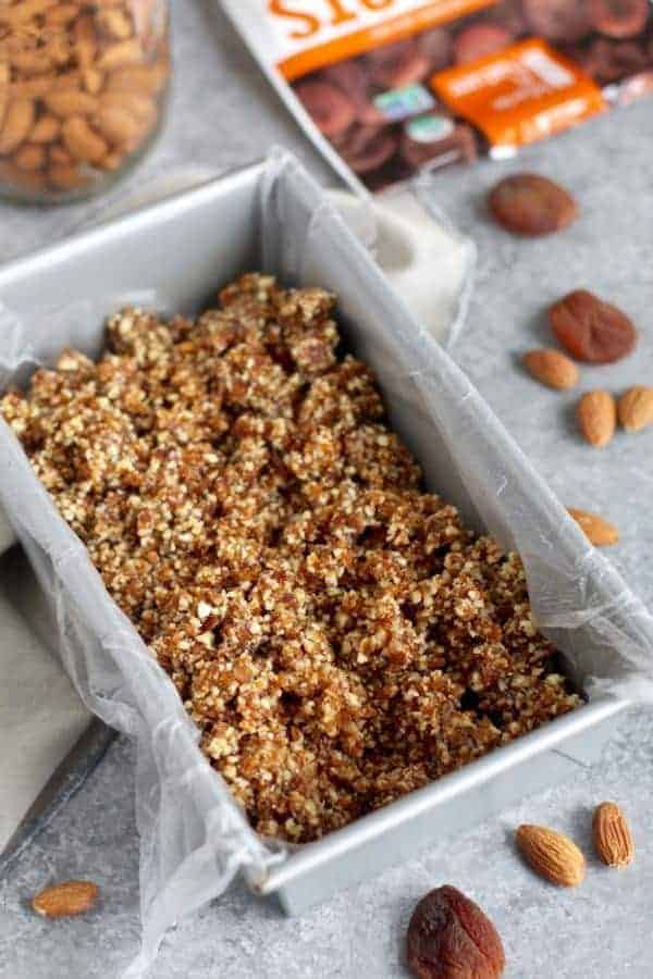 No-Bake Apricot Almond Coconut Energy Bars in a silver pan