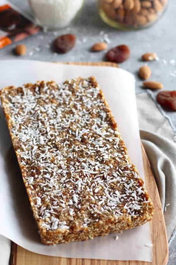 Pre-sliced No-Bake Apricot Almond Coconut Energy Bars