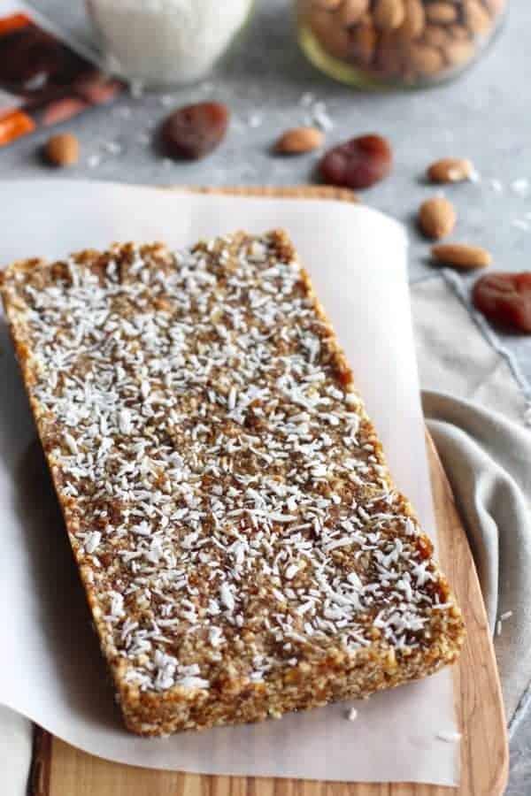 Pre-sliced No-Bake Apricot Almond Coconut Energy Bars