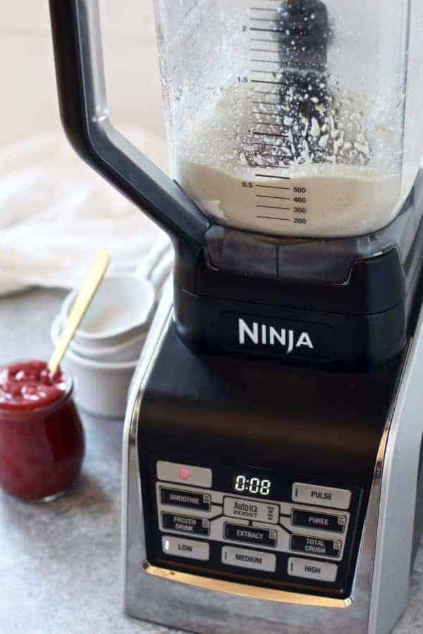 Ninja Kitchen with ingredients for Paleo Vegan Pancakes