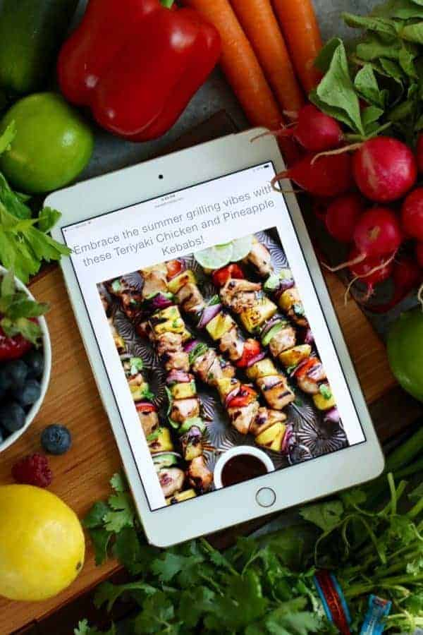 Healthy 4th of July Menu viewed on an iPad