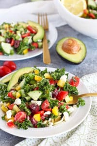 Healthy 4th of July Menu side dish: Greek Kale Salad with Avocado