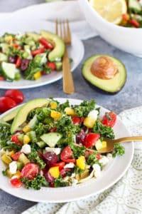 Healthy 4th of July Menu side dish: Greek Kale Salad with Avocado