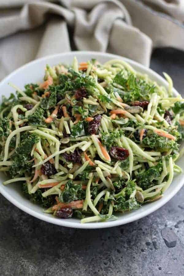 Creamy Broccoli Slaw in a white bowl