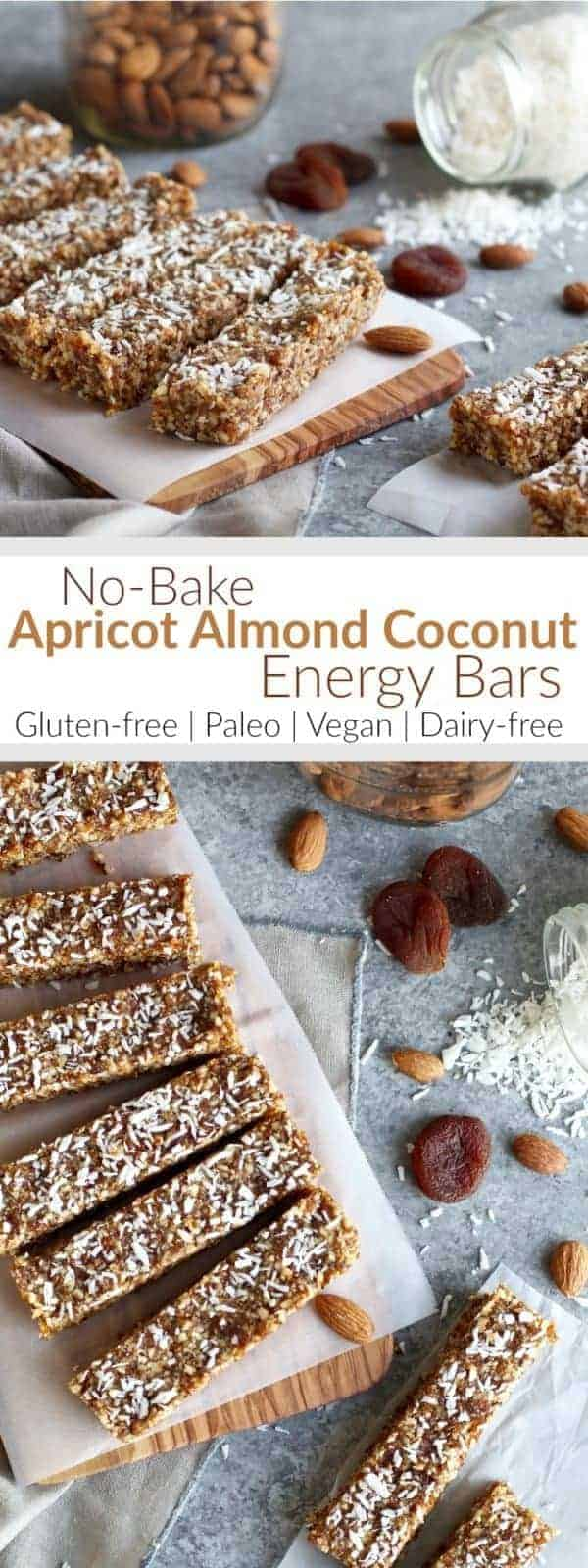 Up level your snack game with these vegan & paleo friendly, refined sugar-free, no-bake Apricot Almond Coconut Energy Bars. A perfectly packable and tasty snack. | The Real Food Dietitians | https://therealfoodrds.com/apricot-almond-coconut-energy-bars/