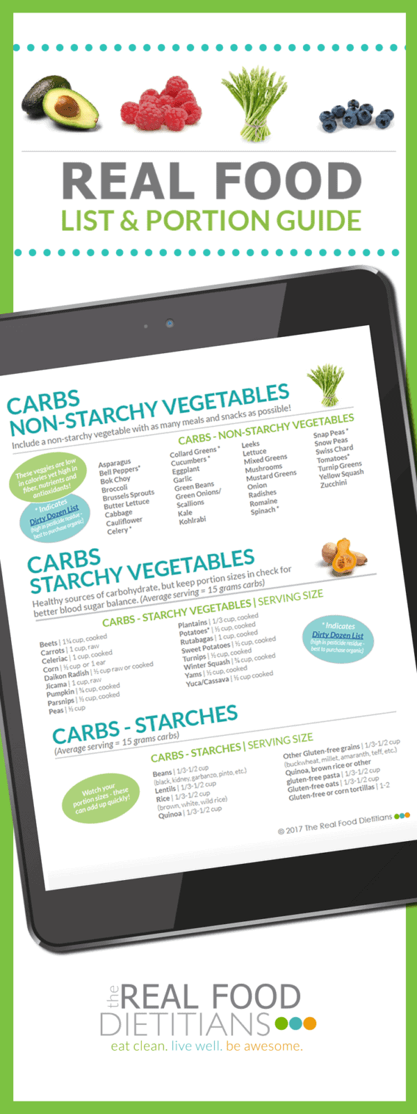 Cut through the info clutter and start eating your way to a healthier you with our FREE downloadable Real Food List & Portion Guide! Gluten-free friendly. | The Real Food Dietitians | https://therealfoodrds.com/real-food-list-portion-guide/