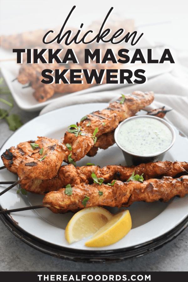 Pin image for Chicken Tikka Masala Skewers