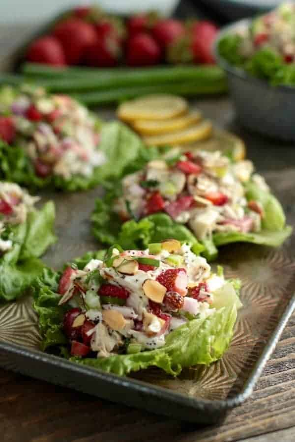 Strawberry Chicken Poppy Seed Salad on a cookie sheet
