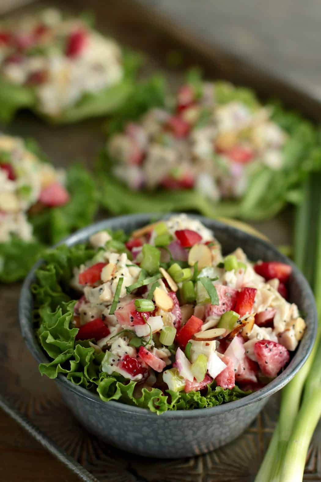 Strawberry Chicken Poppy Seed Salad in a gray bowl