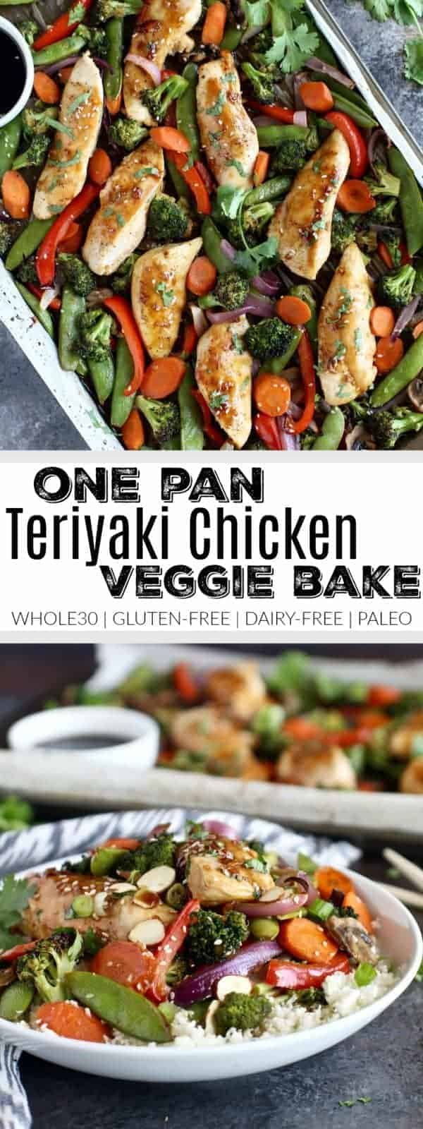 Full of flavor, nutrient-dense veggies and satisfying protein. This One-Pan Teriyaki Chicken Veggie Bake that's made with a simple homemade teriyaki sauce is Whole30-friendly and perfect for weeknight dinners.Whole30 | Gluten-free | Dairy-free | Paleo | https://therealfooddietitians.com/one-pan-teriyaki-chicken-veggie-bake/