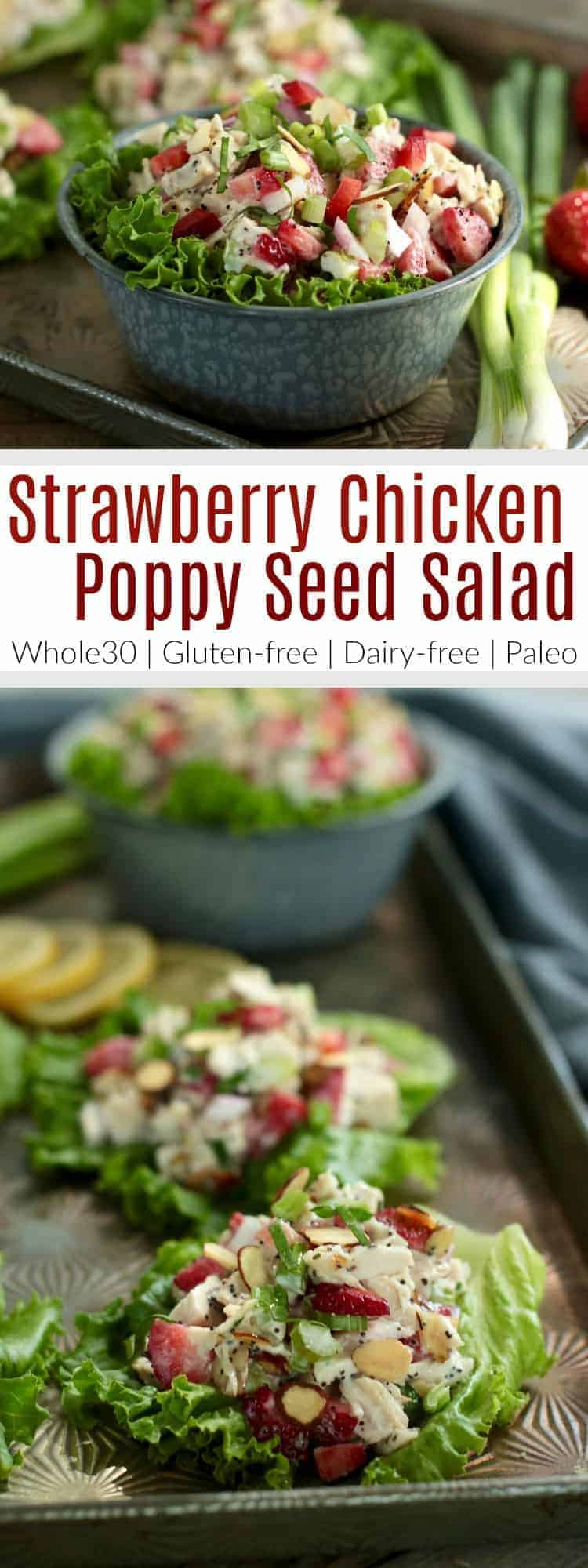 Pinterest image for Strawberry Chicken Poppy Seed Salad