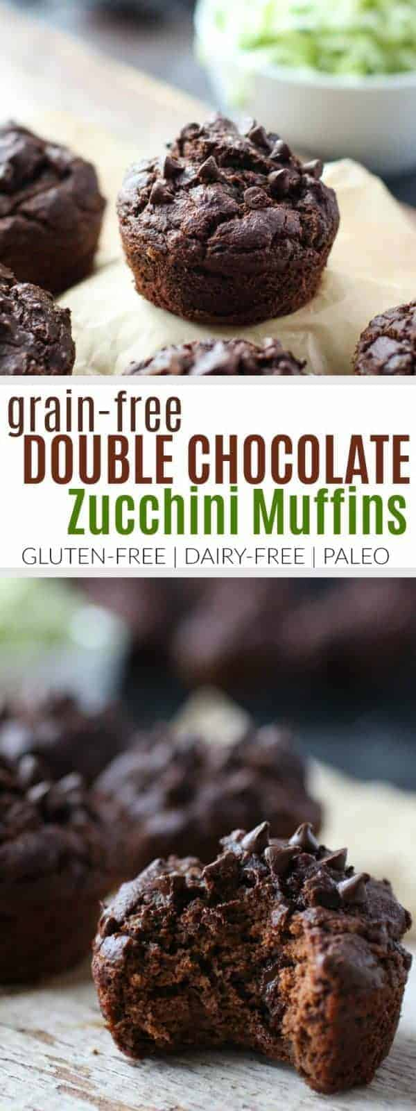Grain-free Double Chocolate Zucchini Muffins
