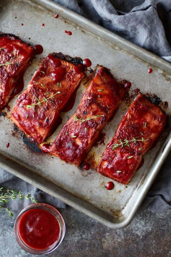 Raspberry Balsamic Glazed Salmon (Whole30) | The Real Food Dietitians | https://therealfooddietitians.com/raspberry-balsamic-glazed-salmon-whole30/