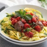 Italian Meatballs with Zoodles (Whole30) | The Real Food Dietitians | https://therealfoodrds.com/italian-meatballs-zoodles-whole30/